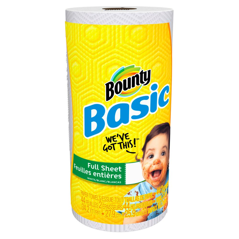 Bounty Basic 1-Ply White Paper Towels