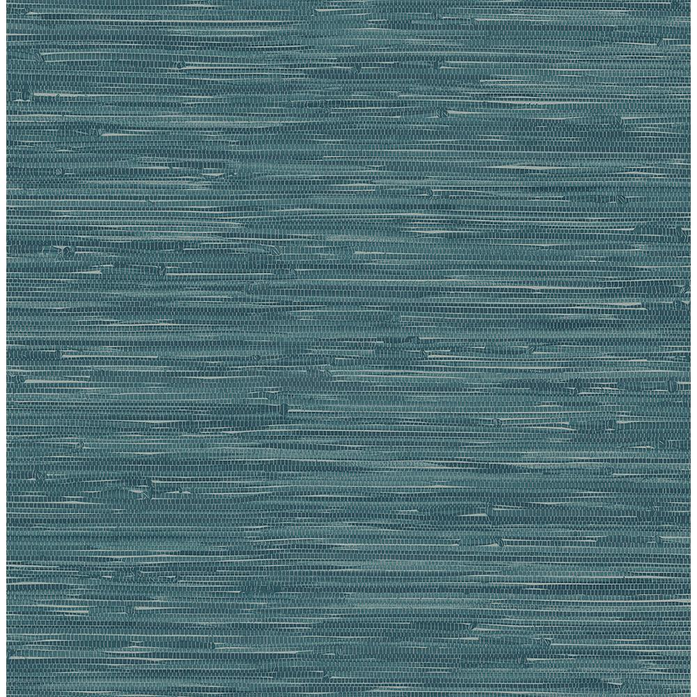 Your Questions About Grasscloth Wallpaper Answered: A-Street Natalie Teal Faux Grasscloth Wallpaper-2657-22265