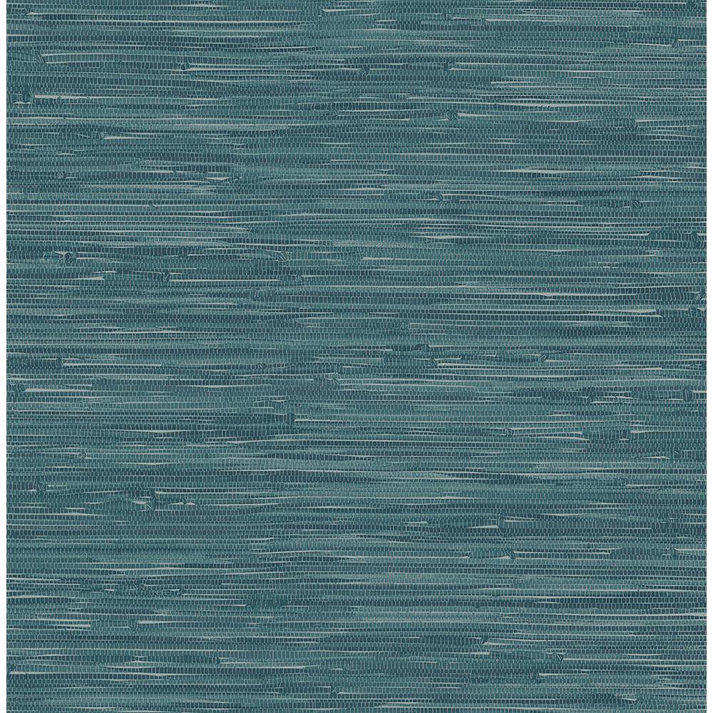 Natalie Teal Faux Grasscloth Wallpaper