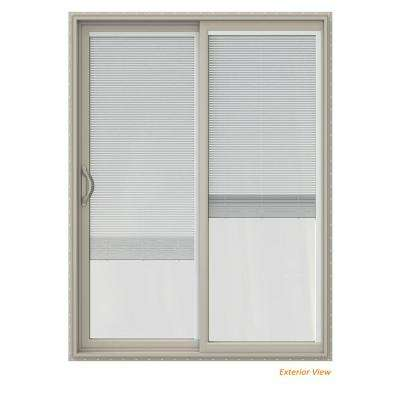 60 in. x 80 in. V-2500 Desert Sand Vinyl Left-Hand Full Lite Sliding Patio Door w/Desert Sand Interior & Blinds