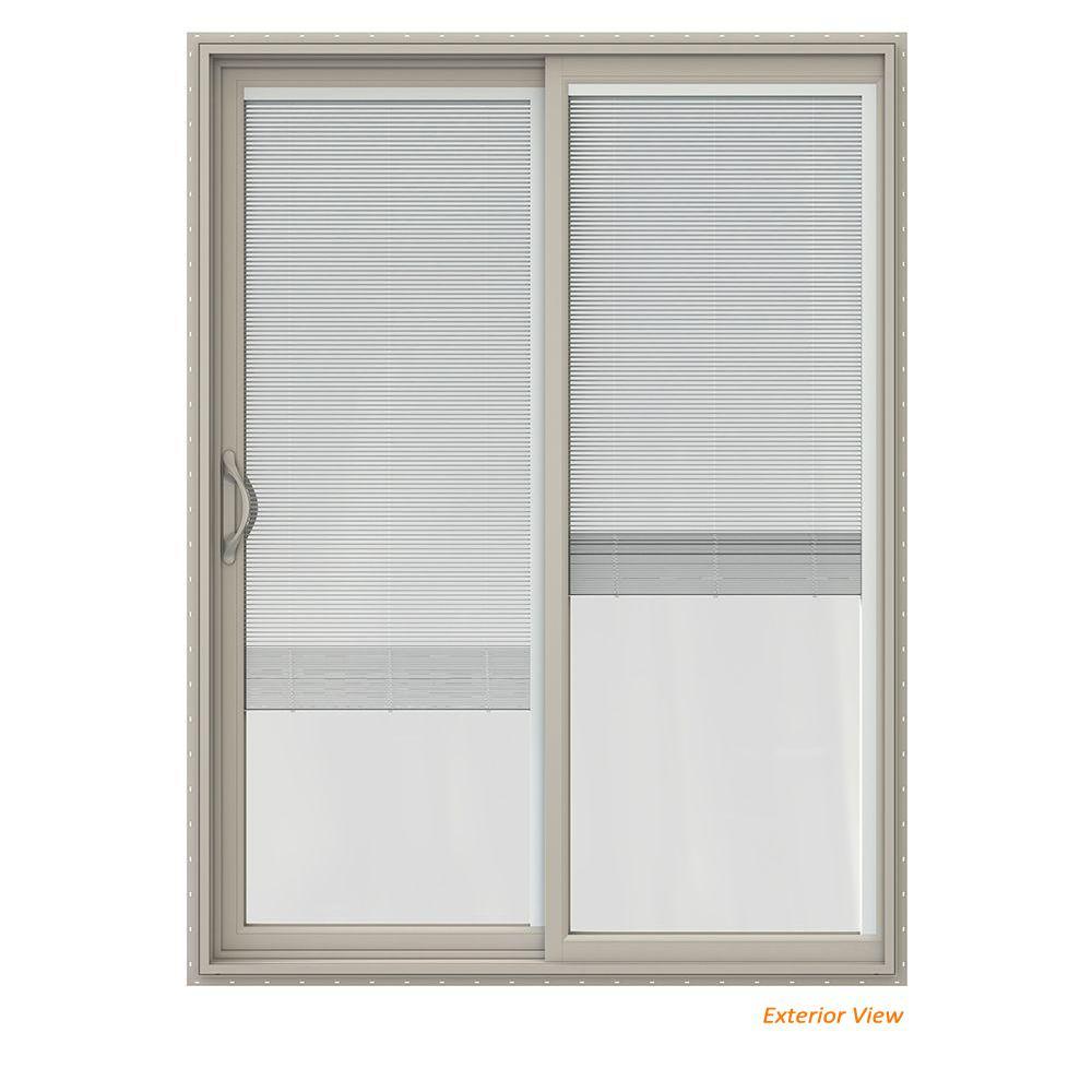 60 in. x 80 in. V-2500 Desert Sand Vinyl Left-Hand Full Lite Sliding Patio Door w/Internal Blinds