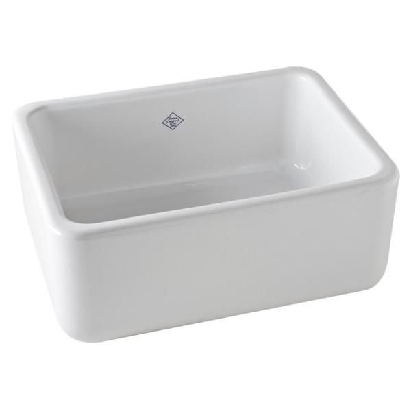 Lancaster Farmhouse/Apron-Front Fireclay 24 in. Single Bowl Kitchen Sink in White