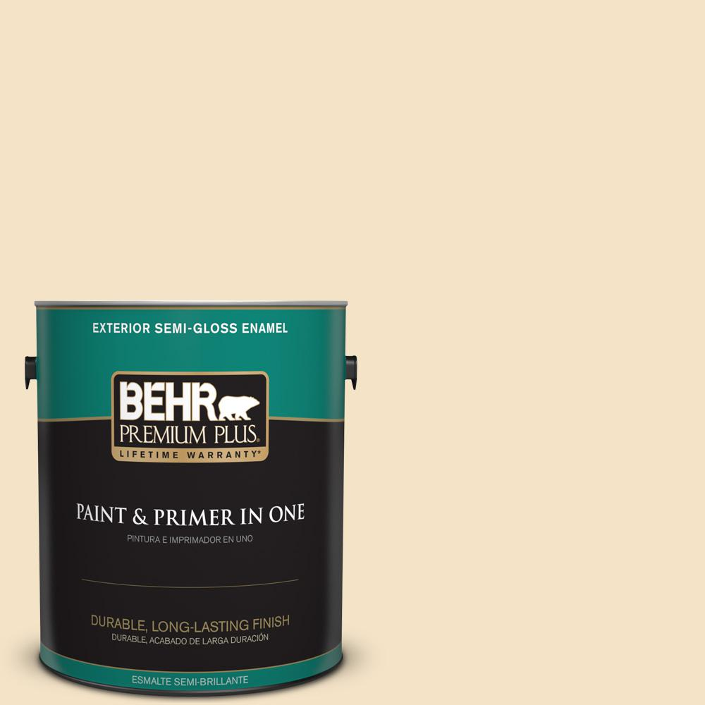 1 gal. #PPU6-10 Cream Puff Semi-Gloss Enamel Exterior Paint