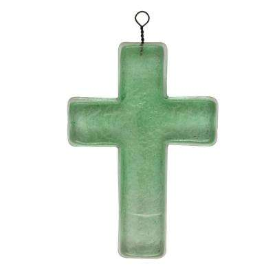 5.5 in. H x 4 in. W x 1 in. D Recycled Glass Cross Wall Art