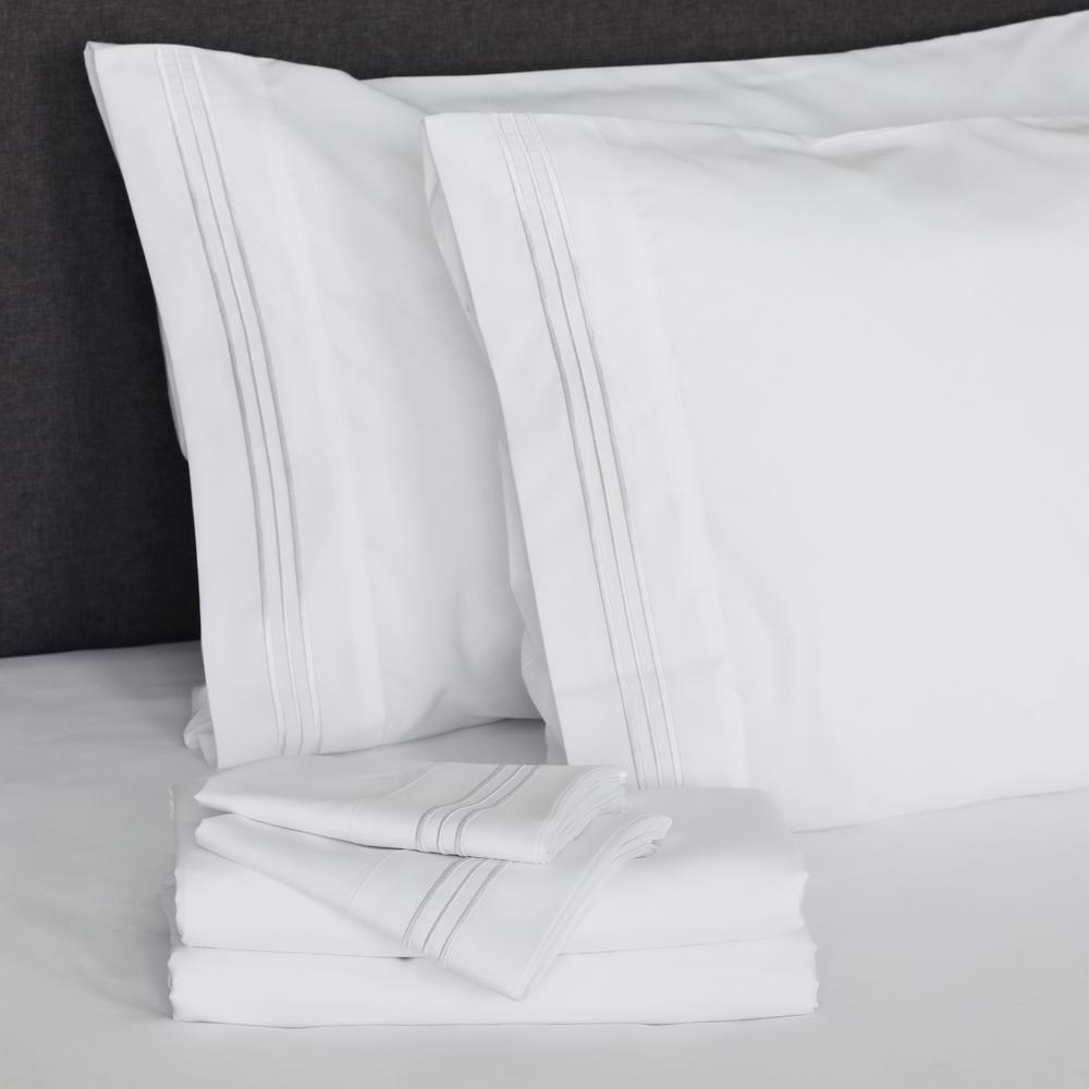 Angeland Vienne 4-Piece White Microfiber King Sheet Set