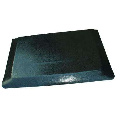 Hide Double Sponge Pebble Brushed Black Surface 24 in. x 96 in. Vinyl Kitchen Mat