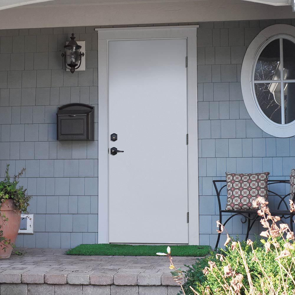Masonite 30 In X 80 In Premium Flush Left Hand Outswing Primed Steel Prehung Front Exterior Door No Brickmold