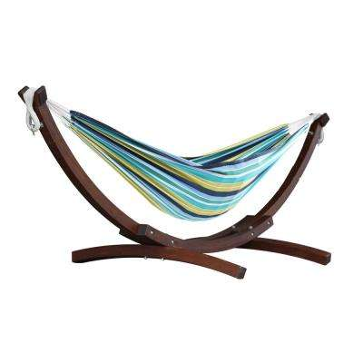 8 ft. Cotton Hammock with Wood Stand in Cayo Reef