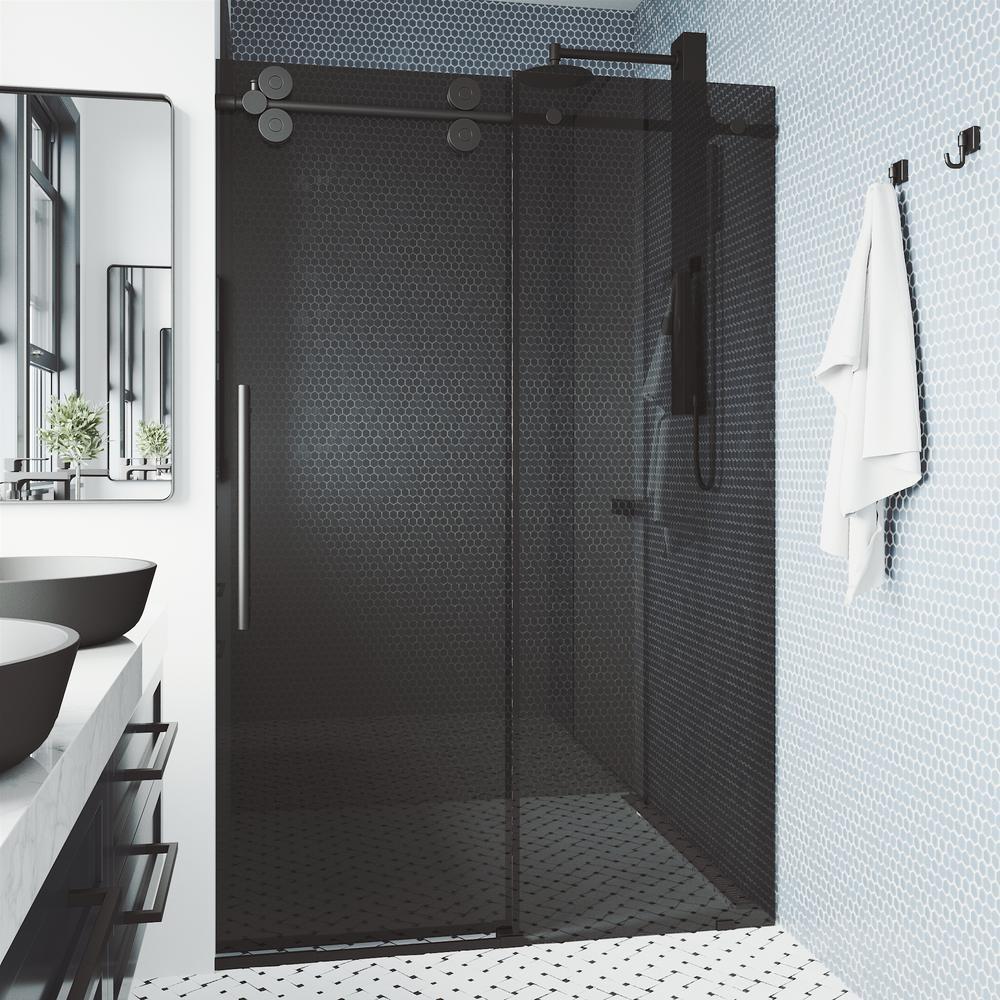 Elan 68 in. to 72 in. x 74 in. Frameless Sliding Shower Door in Matte Black with Black Glass & Handle