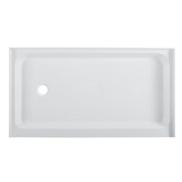 Voltaire 36 in. x 60 in. Acrylic, Single-Threshold, Left-Hand Drain, Shower Base in White