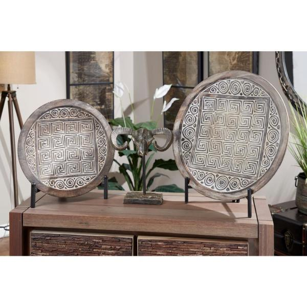 """Litton Lane """"Scroll and Linear Tribal Patterns"""" Framed Wooden Wall Art (Set of 2)"""