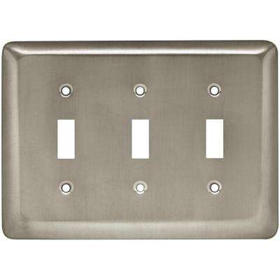 Stamped Round Decorative Triple Switch Plate, Satin Nickel