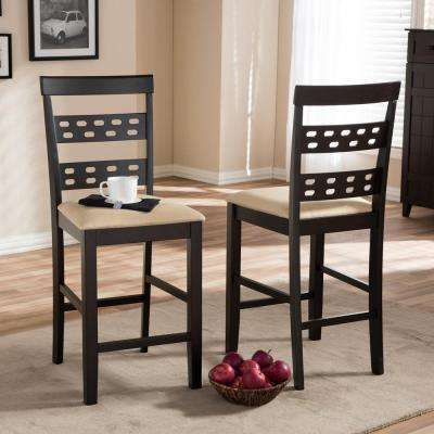 Seville Beige Fabric Upholstered 2-Piece Counter Stool Set