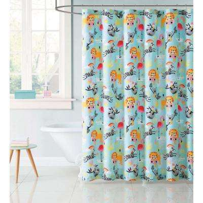 Kids 72 in. Party Multi Animals Shower Curtain