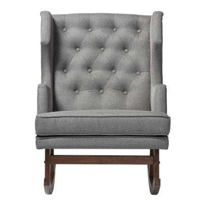 Iona Mid-Century Gray Fabric Upholstered Rocking Chair