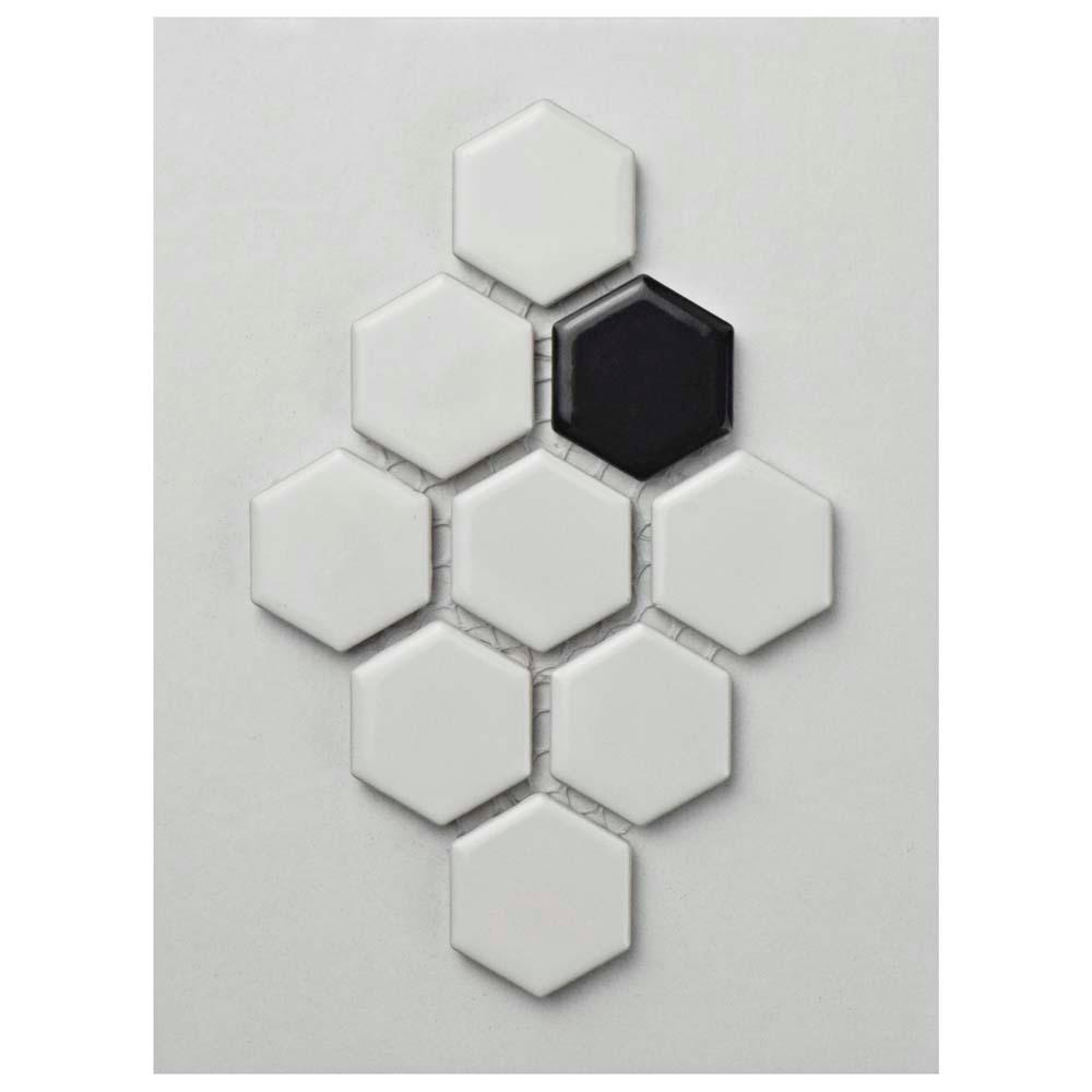 Merola Tile Metro Hex Glossy White with Black Dot Porcelain Mosaic ...