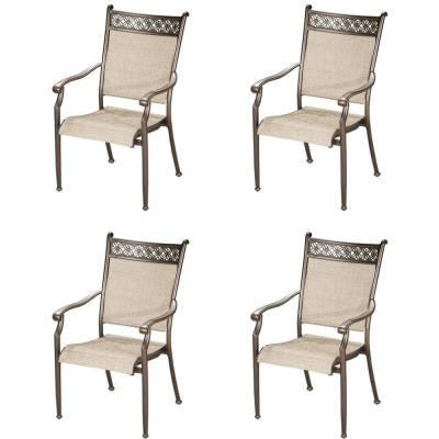 Modern Bronze Stackable Aluminum Sling Dining Chairs (4-Pack)
