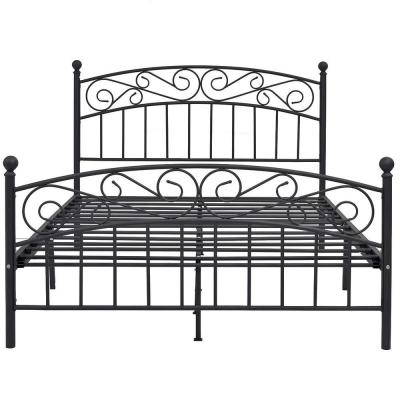 Black Queen Size Metal Platform Bed with Headboard and Footboard