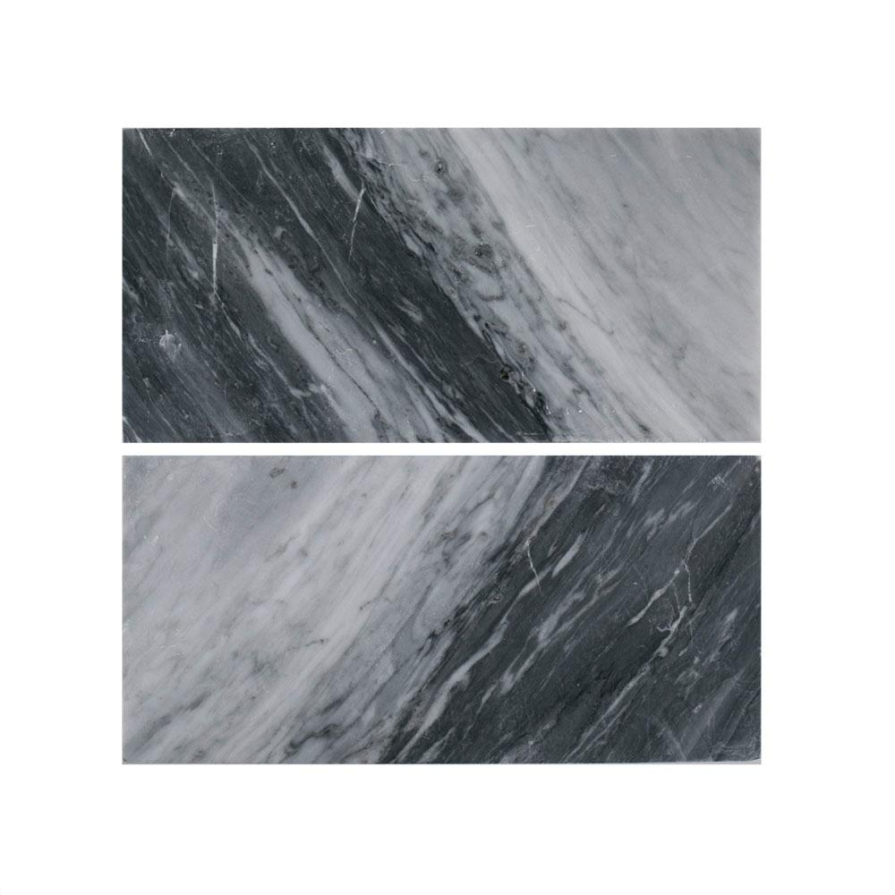 Bardiglio Polished 6 in. x 12 in. Marble Wall Tile (2-Piece