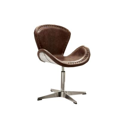 Benjara Retro Brown and Silver with Swivel Top Grain Leather Accent Chair