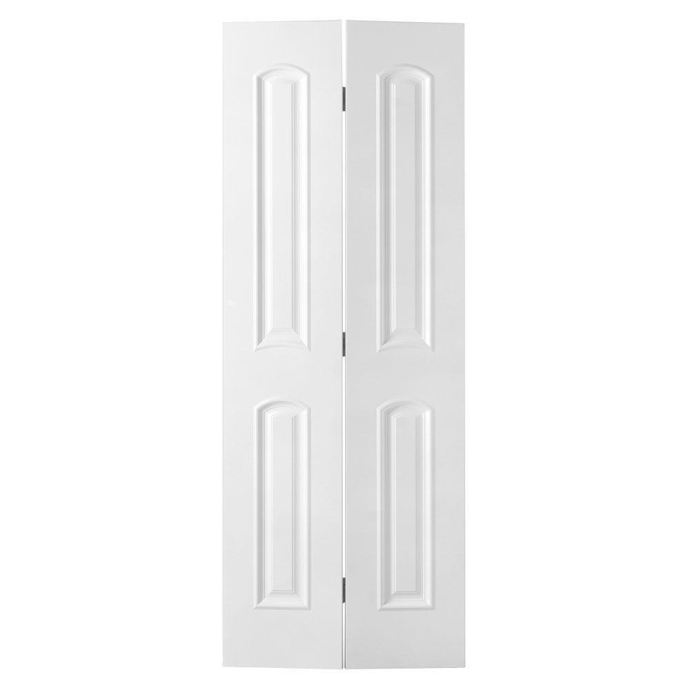 Masonite 24 in. x 80 in. Palazzo Bellagio 2-Panel Arch Top Primed White Solid-Core Smooth Composite Bi-fold Door