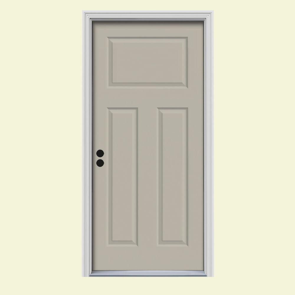 JELD-WEN 30 in. x 80 in. 3-Panel Craftsman Desert Sand Painted Steel Prehung Right-Hand Inswing Front Door w/Brickmould