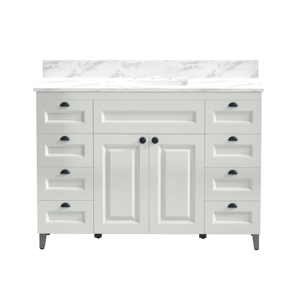 48 in. Metal Bathroom Vanity in White with Carrera Engineered Marble Vanity Top and White Sink
