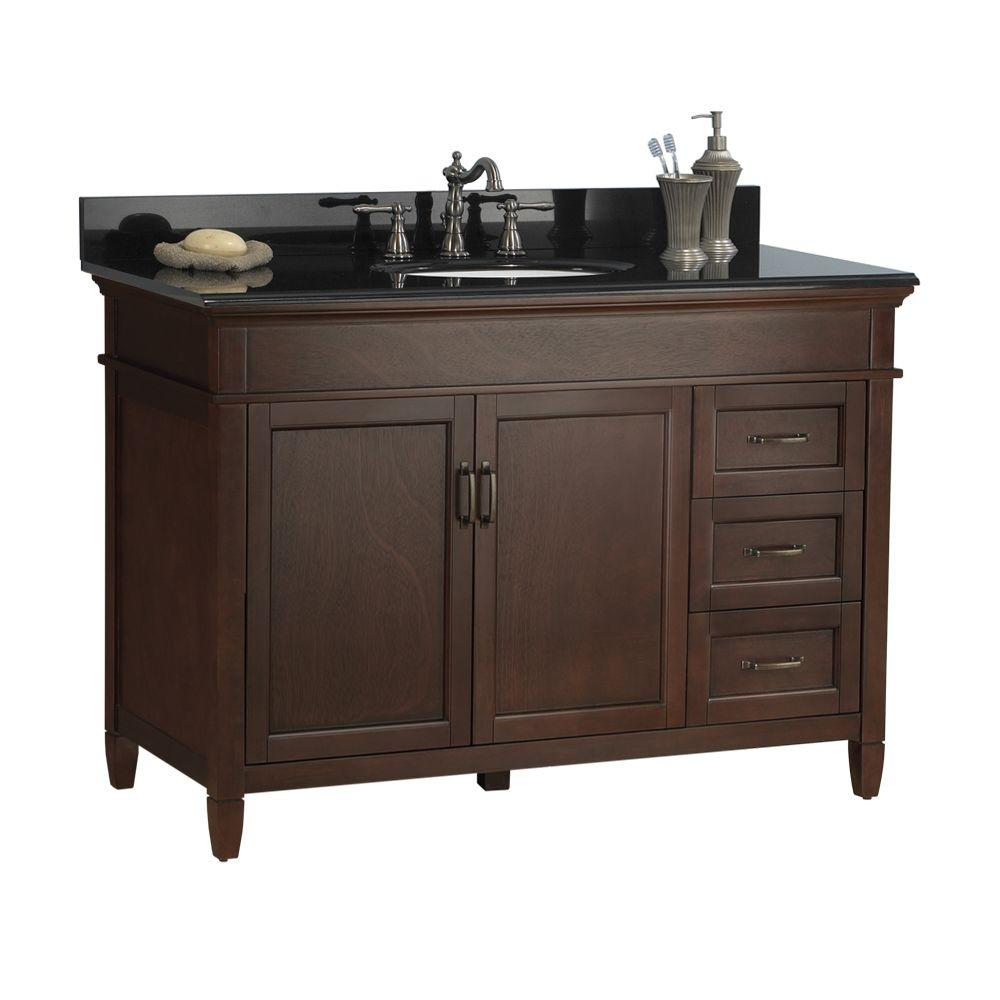 Foremost Ashburn 49 in. W x 22 in. D Vanity in Mahogany with Granite Vanity Top in Black with White Basin