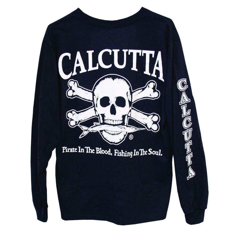 Calcutta Adult Extra Original Logo Long Sleeved Front Pocket T-Shirt in Navy-DISCONTINUED