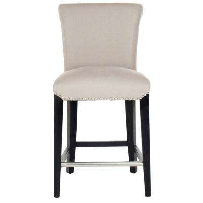 Seth 25.9 in. Taupe Cushioned Bar Stool