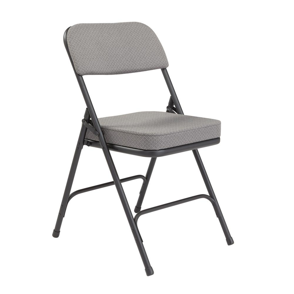 NationalPublicSeating National Public Seating Charcoal Fabric Padded Seat Folding Chair (Set of 2), Grey