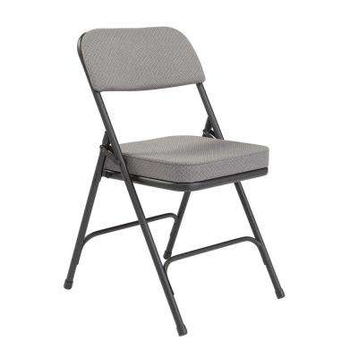 NPS 3200 Series 2 in. Charcoal Fabric Upholstered Folding Chair (Pack of 2)