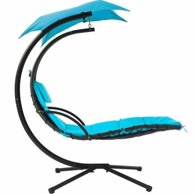 Blue Metal Outdoor Hanging Curved Chaise Lounge Patio Swing Chair
