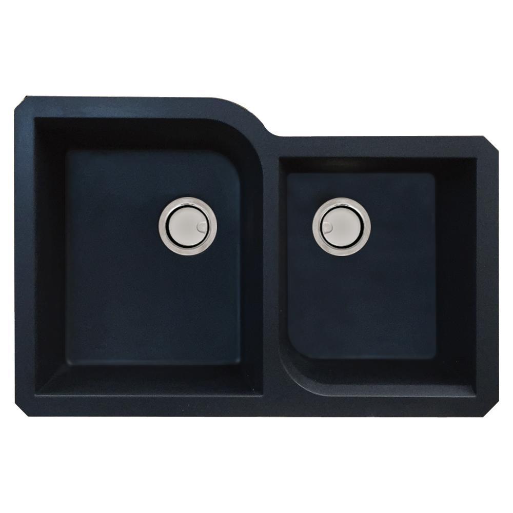 Radius Undermount Granite 32 in. 1-3/4 Offset Double Bowl Kitchen Sink in Black