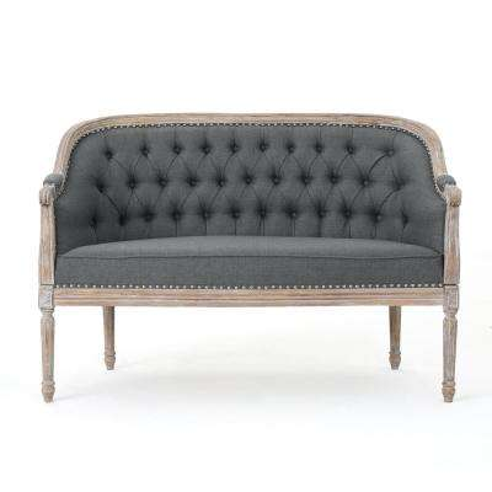 Faye 2-Seat Dark Grey and Antique Loveseat
