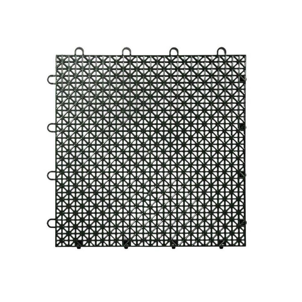 Armadillo Tile Black 12 in. x 12 in. Polypropylene Interlocking Multipurpose