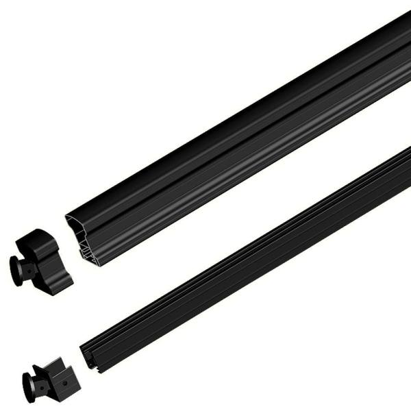 Black 6 ft. Aluminum Stair Hand and Base Rail Kit