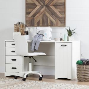 Artwork Pure White Straight Desk with Drawers