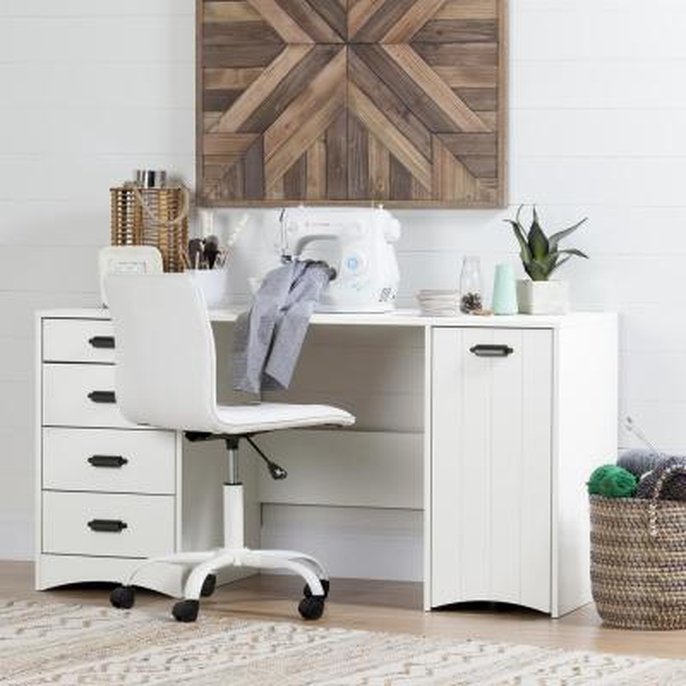58.25 in. White Rectangular 4 -Drawer Writing Desk with Shelf
