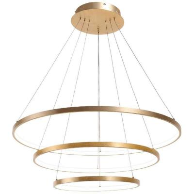 Modern 50-Watt 3-Light Tiered Integrated LED Brush Gold Rings Chandelier