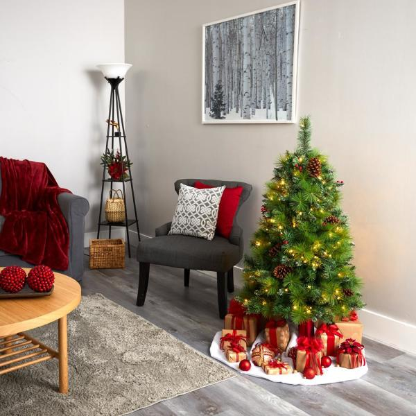 Nearly Natural 4 Ft Pre Lit Montana Mixed Pine Artificial Christmas Tree With Pine Cones Berries And 150 Clear Led Lights T1620 The Home Depot