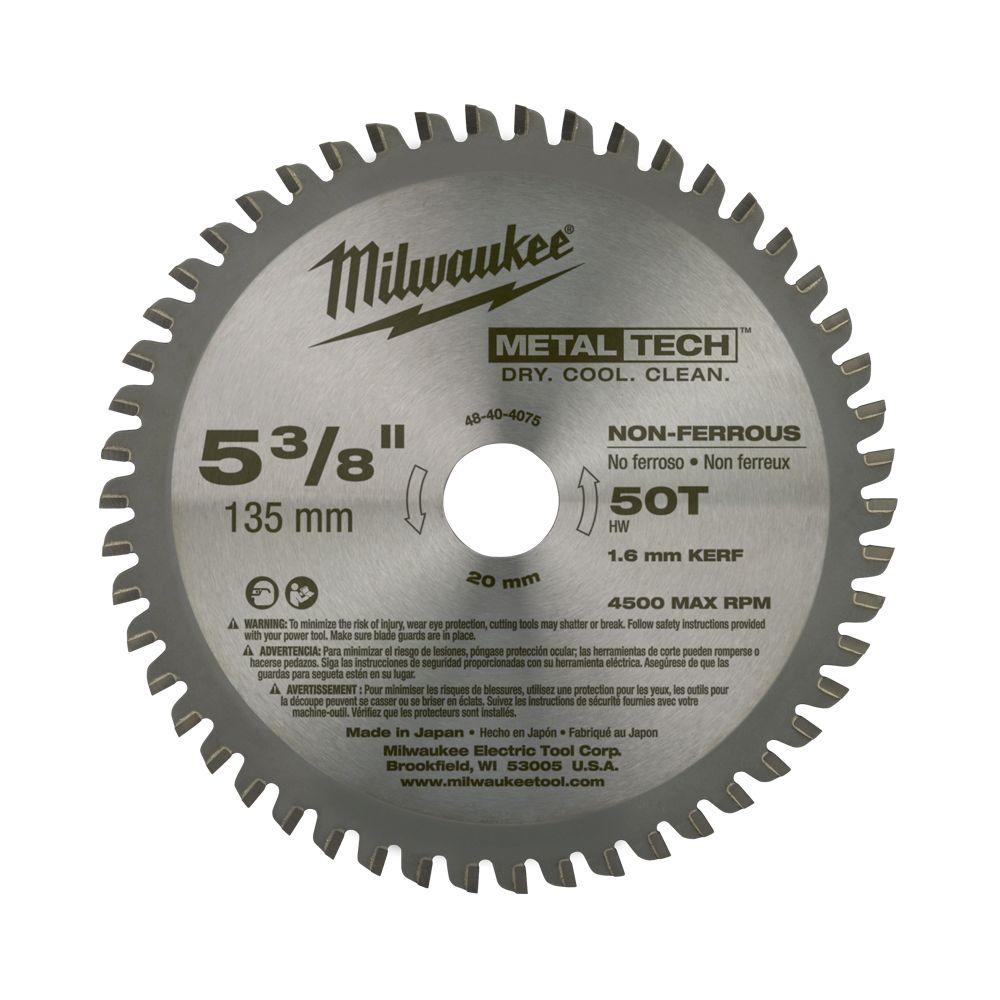 Milwaukee 5 38 in x 50 tooth non ferrous metal circular saw milwaukee 5 38 in x 50 tooth non ferrous metal circular saw blade 48 40 4075 the home depot greentooth Images