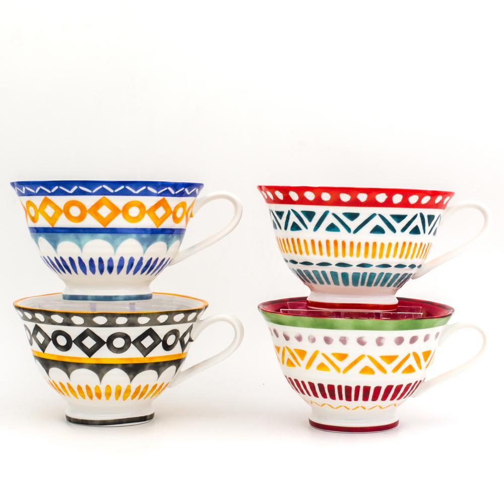 Euro Ceramica Amalfi 4-Piece Mix and Match Latte Mug Set AMA-86024