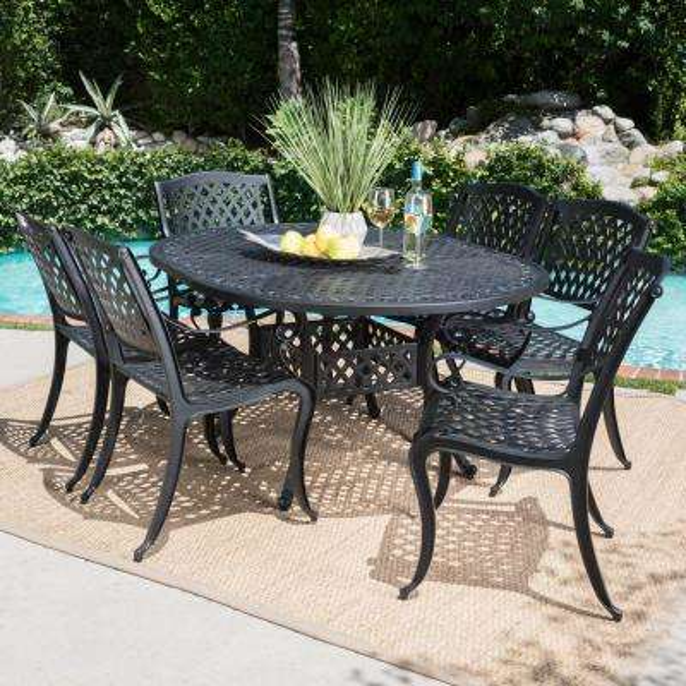 Carysfort Black 7-Piece Aluminum Outdoor Dining Set