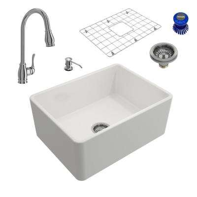 Classico All-in-One Farmhouse Fireclay 24 in. Single Bowl Kitchen Sink with Belsena Polished Chrome Faucet and Soap Disp