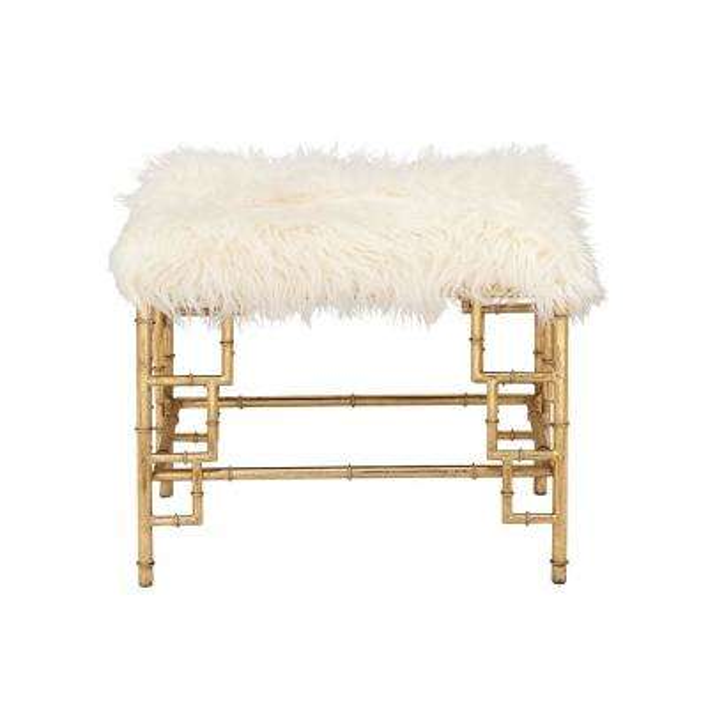 White Faux Fur Rectangular Ottoman with Gold Iron Pipe Legs