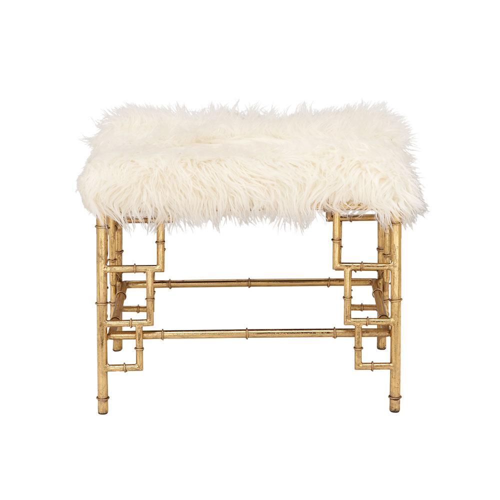Litton Lane White Faux Fur Rectangular Ottoman With Gold Iron Pipe