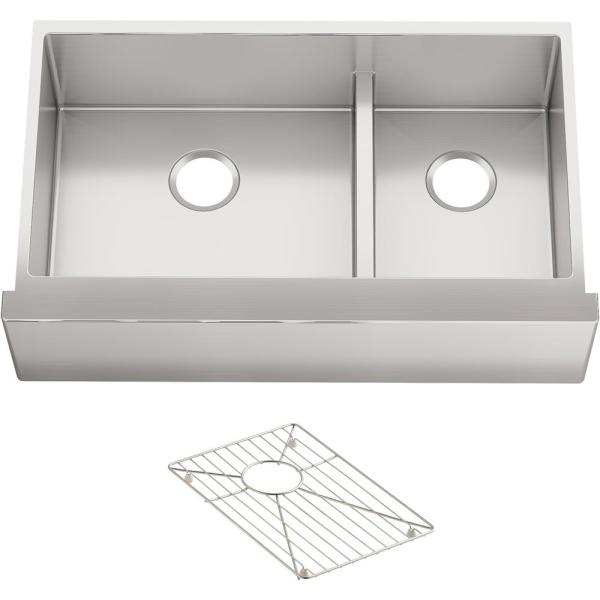 Strive Farmhouse Apron Front Undermount Stainless Steel 36 in. Double Basin Kitchen Sink with Basin Rack