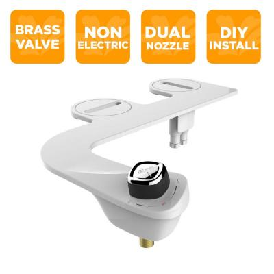 Slim Edge Non-Electric Bidet Attachment System in White with Seat Bumpers