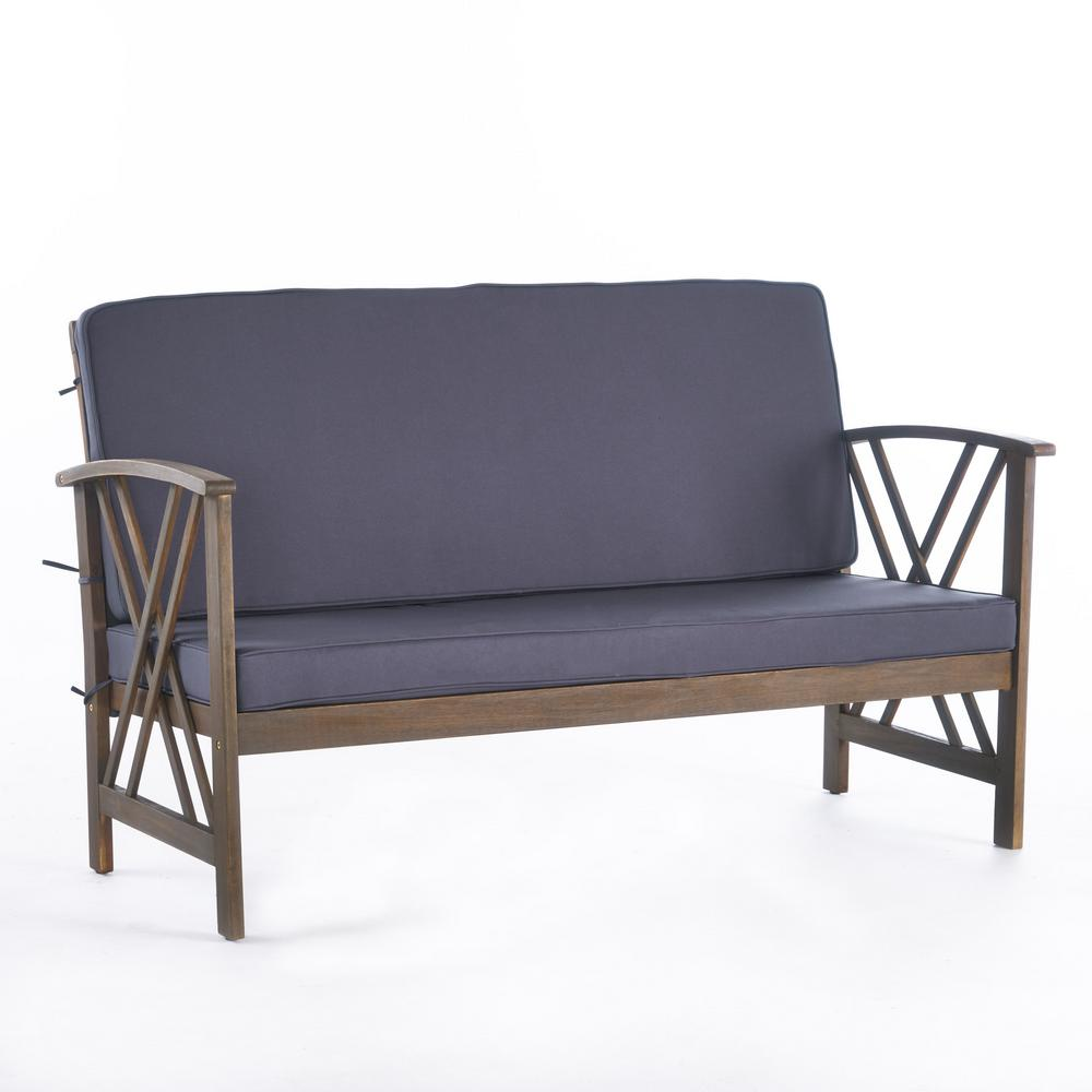 Noble House Caroline Grey Wood Outdoor Loveseat with Dark Grey Cushions